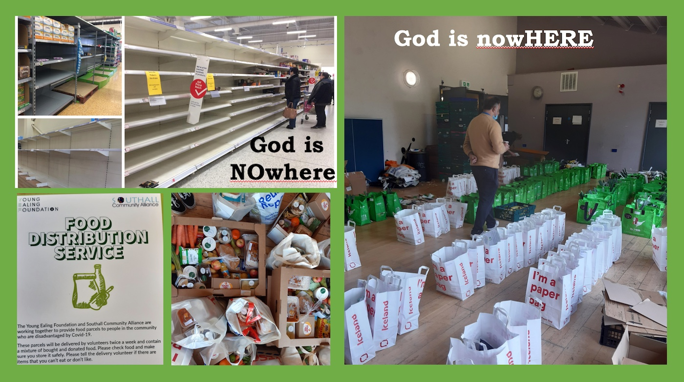empty shelves and food distribution bags