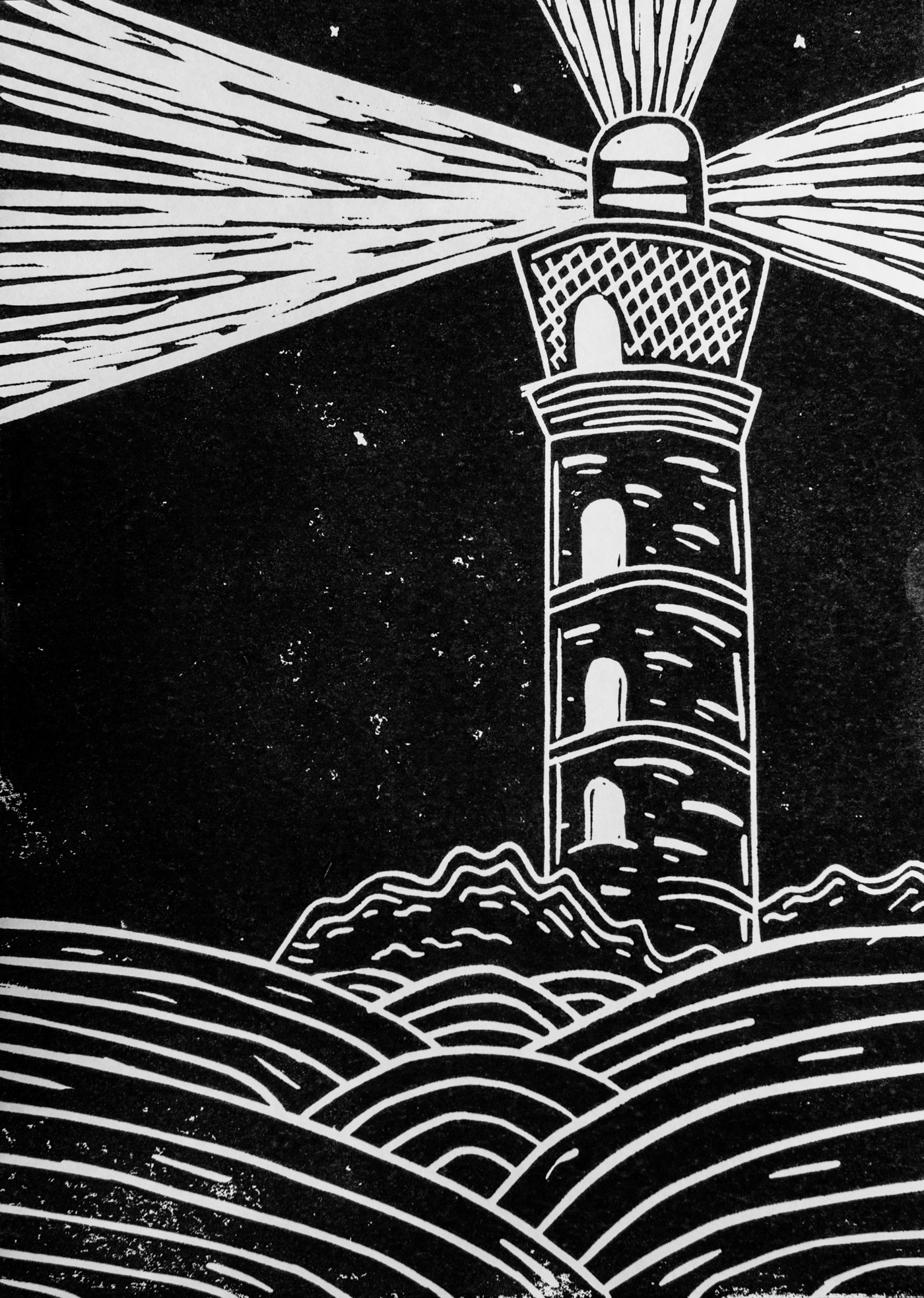 linocut of lighthouse